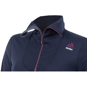 """Aclima W's DoubleWool Polo Zip Shirt Peacoat (Blackberry Wine/Periscope)"""